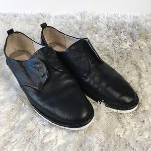 Black Leather Oxford Flat shoes Sz 9 White Soles